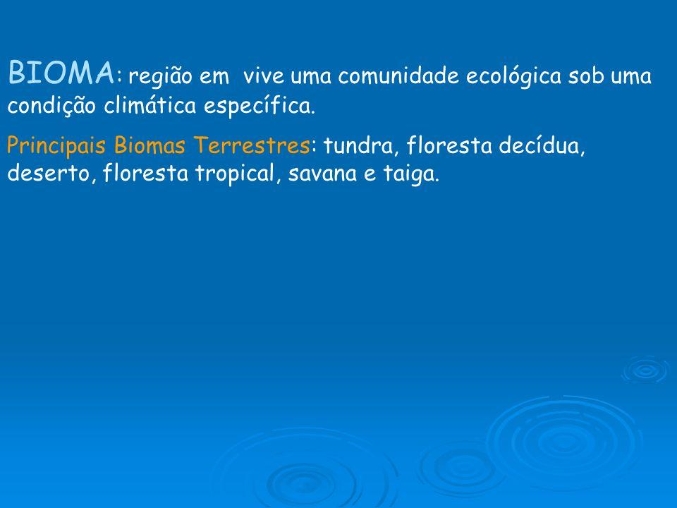 BIOMA: região em vive uma comunidade ecológica sob uma condição climática específica.