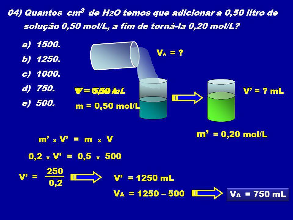 04) Quantos cm de H2O temos que adicionar a 0,50 litro de