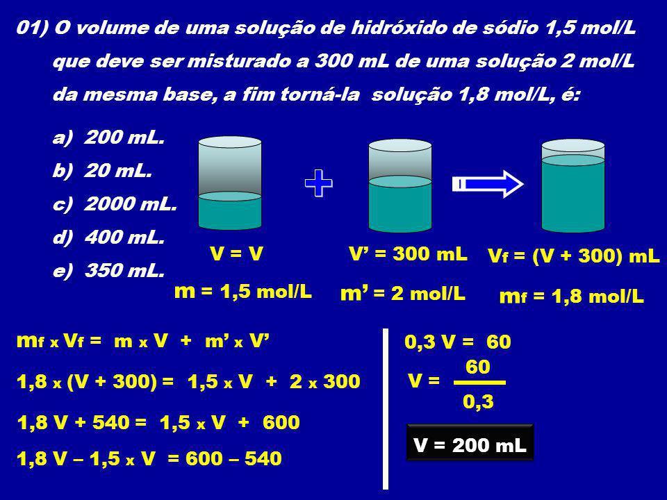 + m = 1,5 mol/L m' = 2 mol/L mf = 1,8 mol/L mf x Vf = m x V + m' x V'