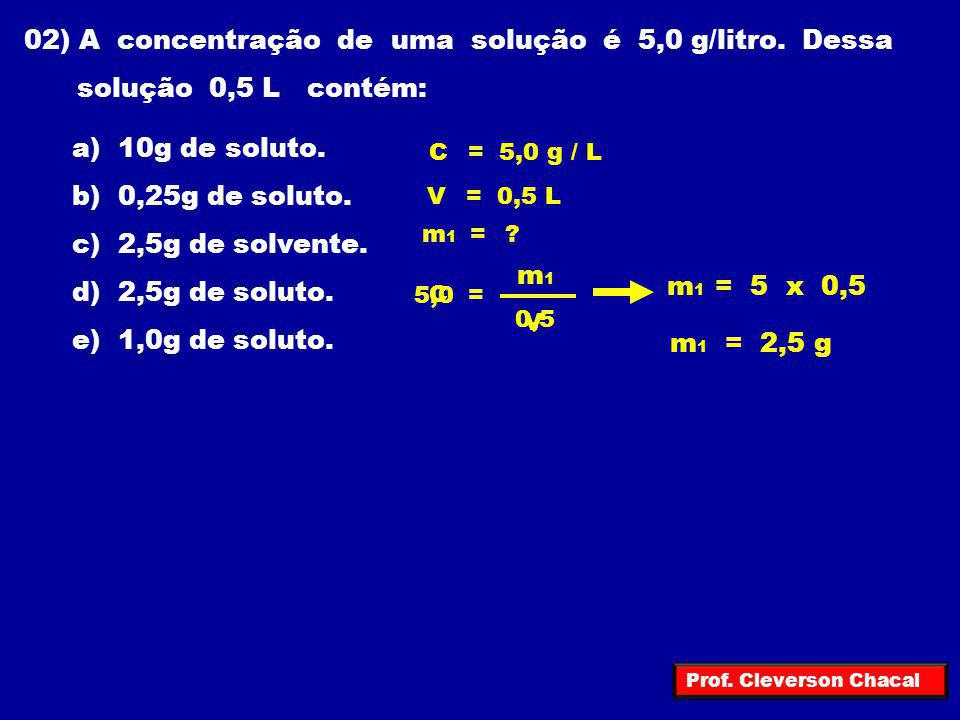 02) A concentração de uma solução é 5,0 g/litro. Dessa