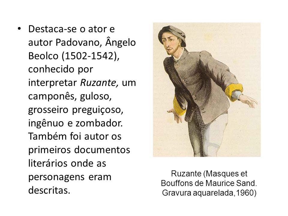 Ruzante (Masques et Bouffons de Maurice Sand. Gravura aquarelada,1960)