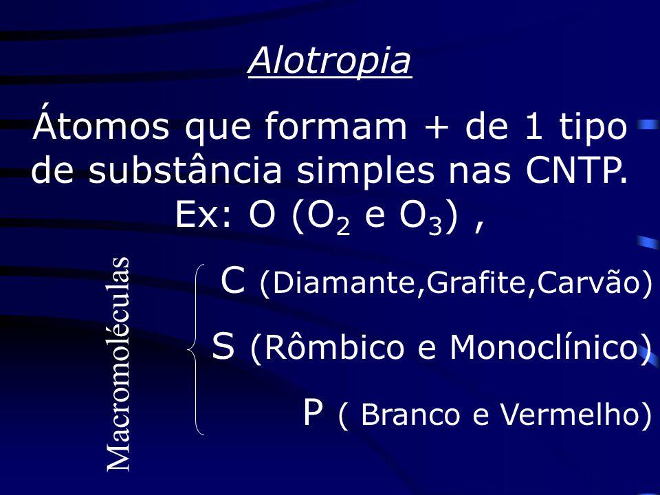 C (Diamante,Grafite,Carvão) S (Rômbico e Monoclínico)