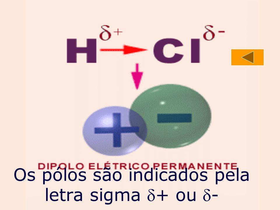 Os pólos são indicados pela letra sigma + ou -