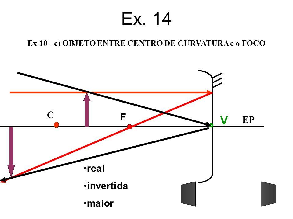 Ex 10 - c) OBJETO ENTRE CENTRO DE CURVATURA e o FOCO