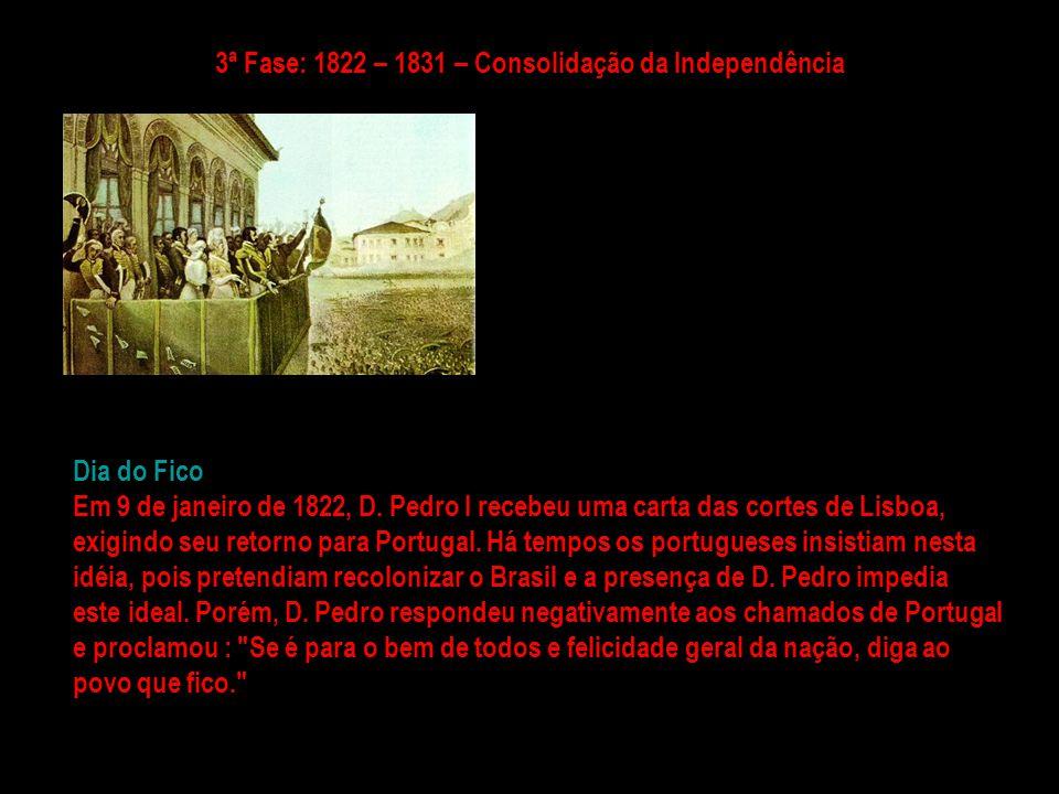 3ª Fase: 1822 – 1831 – Consolidação da Independência
