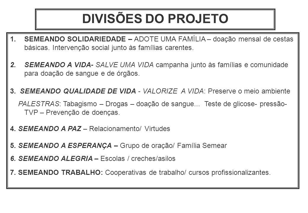 DIVISÕES DO PROJETO SEMEANDO SOLIDARIEDADE – ADOTE UMA FAMÍLIA – doação mensal de cestas básicas. Intervenção social junto às famílias carentes.