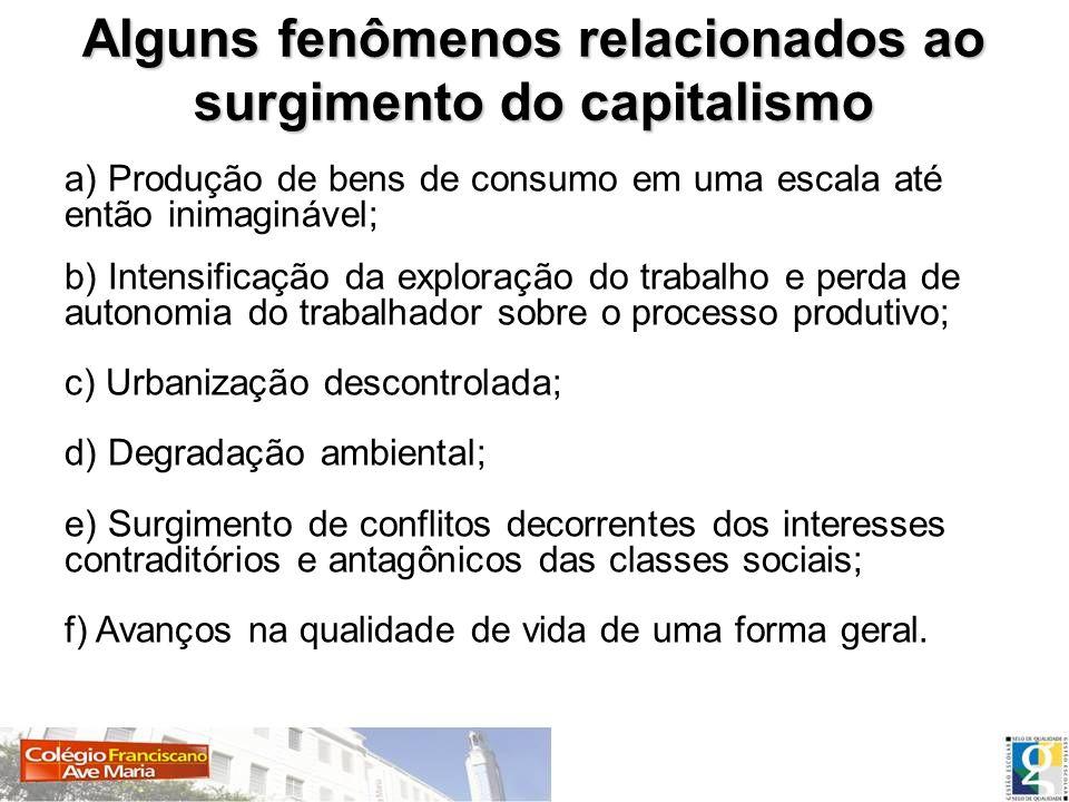 Alguns fenômenos relacionados ao surgimento do capitalismo