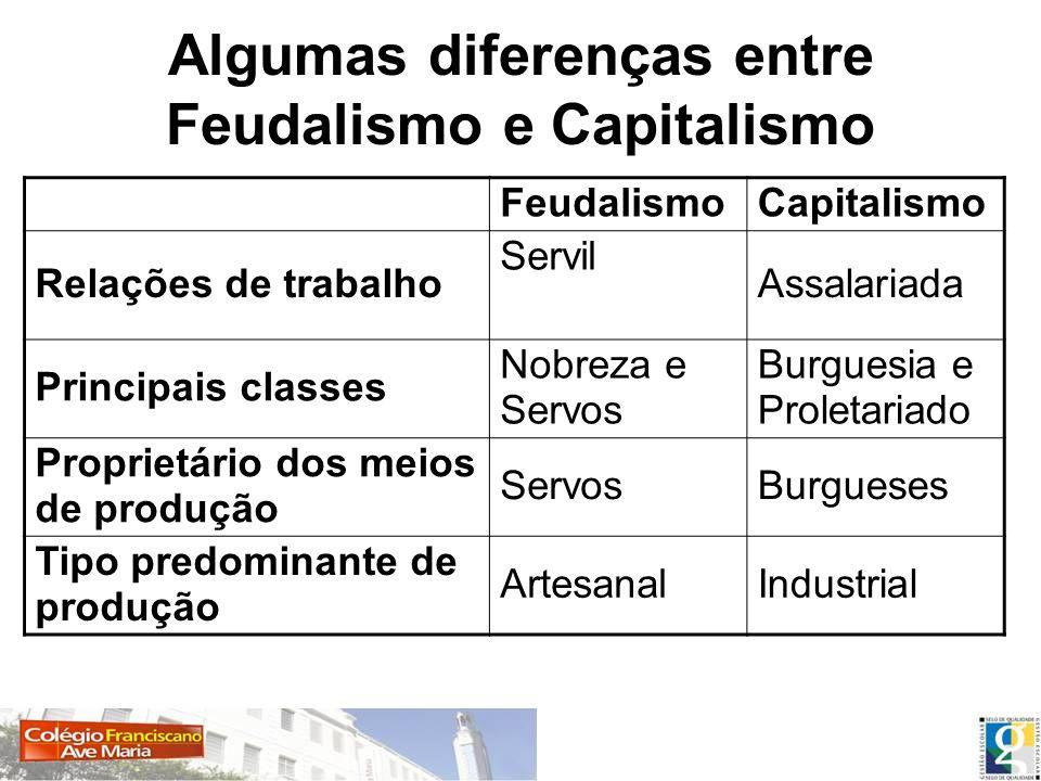 Algumas diferenças entre Feudalismo e Capitalismo
