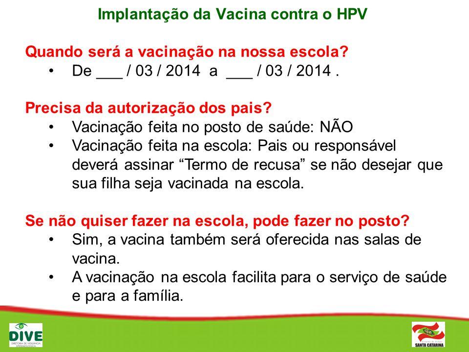 Implantação da Vacina contra o HPV