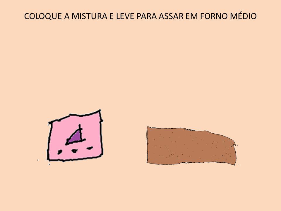 COLOQUE A MISTURA E LEVE PARA ASSAR EM FORNO MÉDIO