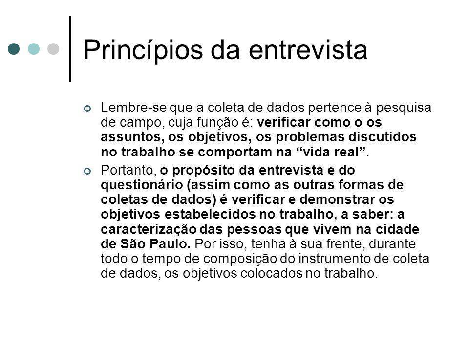 Princípios da entrevista