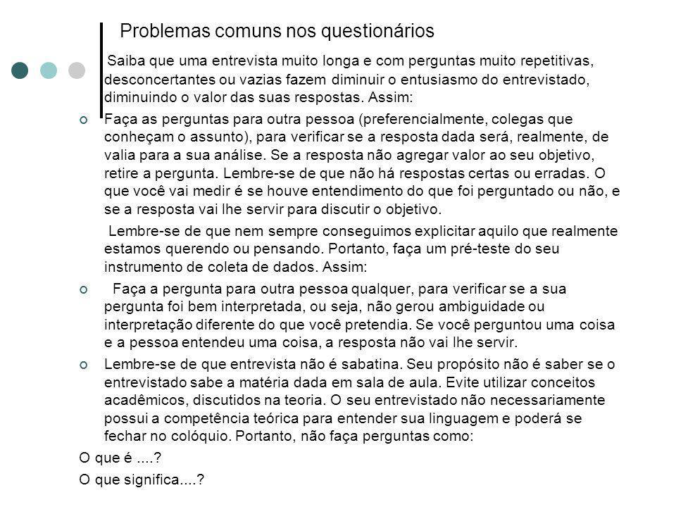 Problemas comuns nos questionários