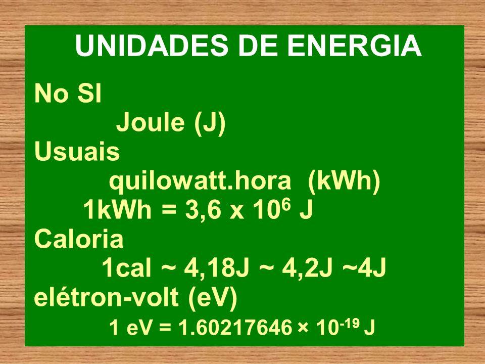 UNIDADES DE ENERGIA No SI Joule (J) Usuais quilowatt.hora (kWh)
