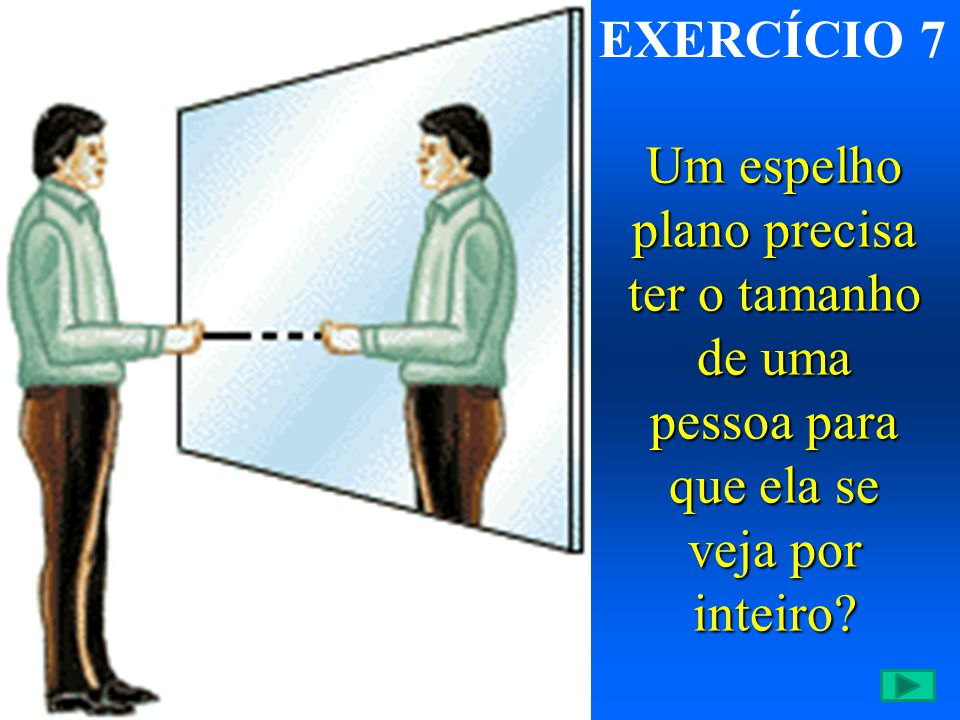 EXERCÍCIO 7 Um espelho plano precisa ter o tamanho de uma pessoa para que ela se veja por inteiro
