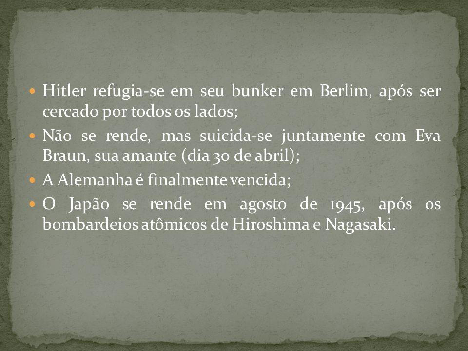 Hitler refugia-se em seu bunker em Berlim, após ser cercado por todos os lados;