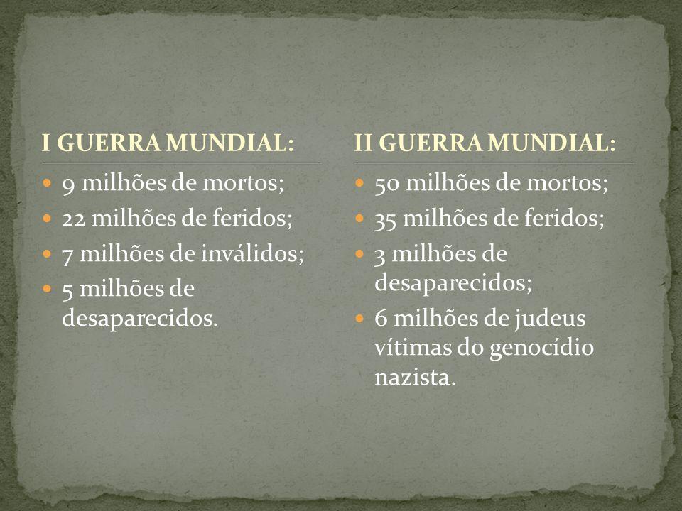 I GUERRA MUNDIAL: II GUERRA MUNDIAL: 9 milhões de mortos; 22 milhões de feridos; 7 milhões de inválidos;