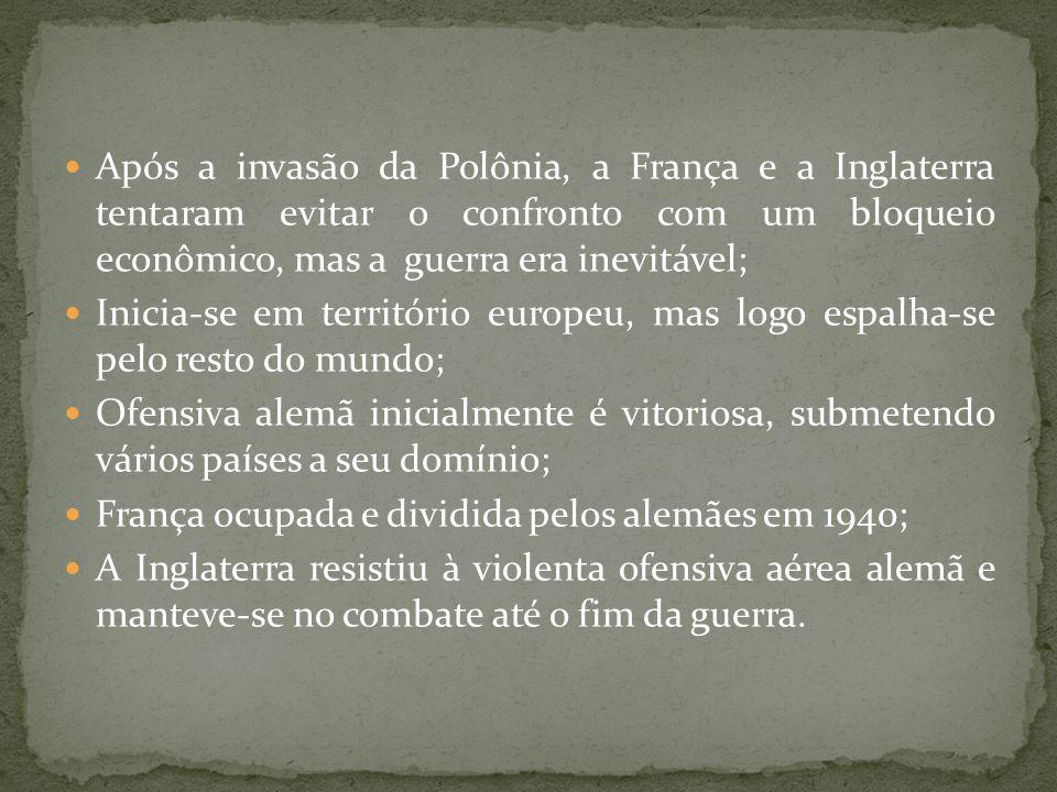 Após a invasão da Polônia, a França e a Inglaterra tentaram evitar o confronto com um bloqueio econômico, mas a guerra era inevitável;