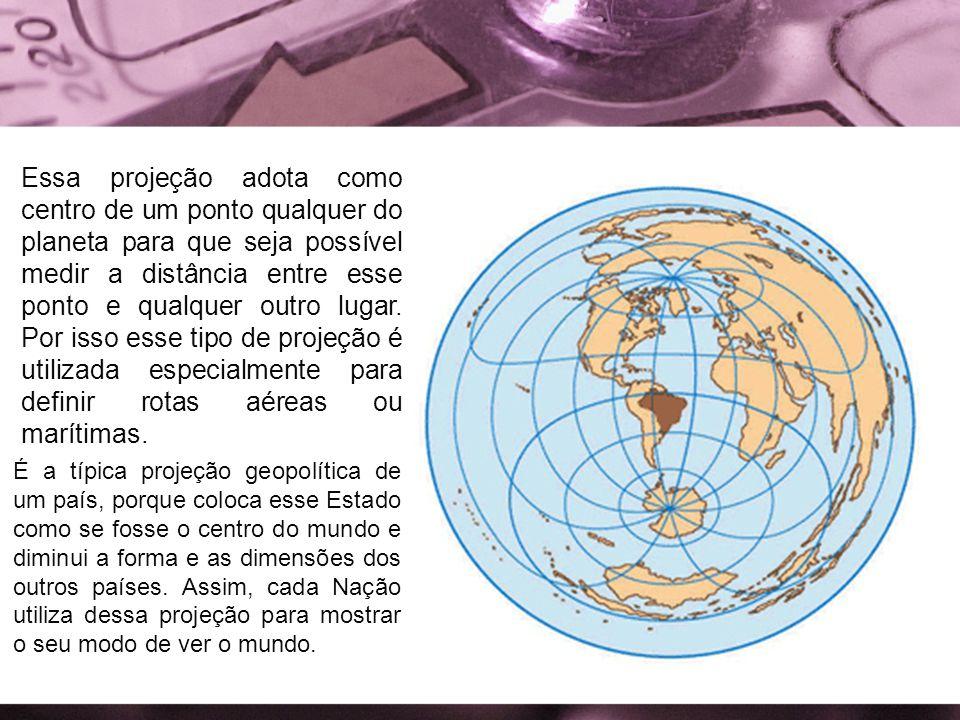 Essa projeção adota como centro de um ponto qualquer do planeta para que seja possível medir a distância entre esse ponto e qualquer outro lugar. Por isso esse tipo de projeção é utilizada especialmente para definir rotas aéreas ou marítimas.