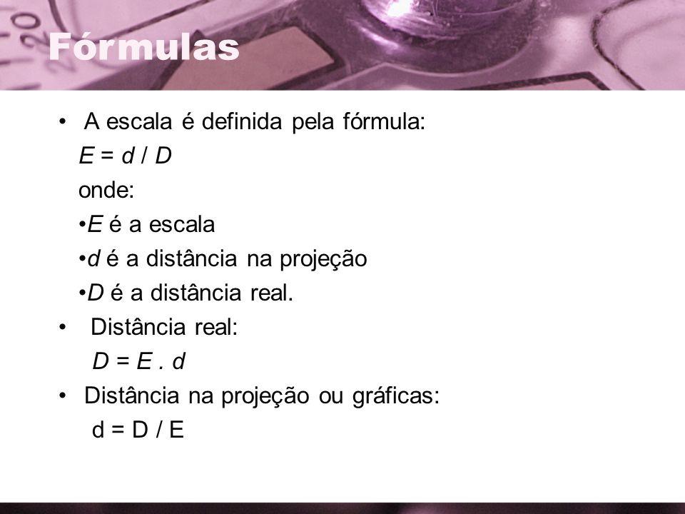 Fórmulas A escala é definida pela fórmula: E = d / D onde: