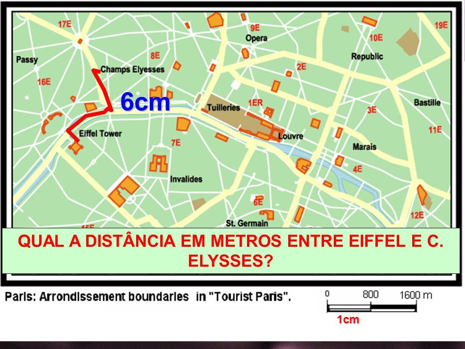 QUAL A DISTÂNCIA EM METROS ENTRE EIFFEL E C. ELYSSES