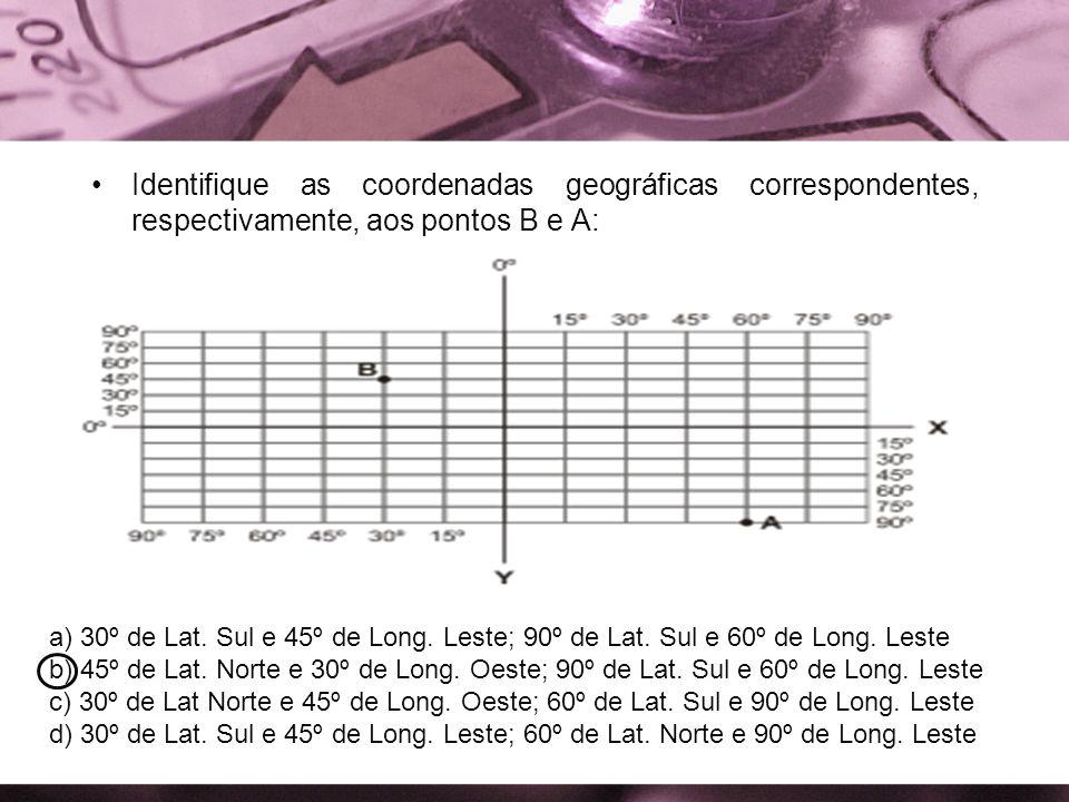 Identifique as coordenadas geográficas correspondentes, respectivamente, aos pontos B e A: