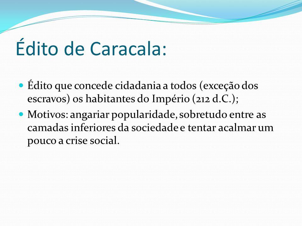 Édito de Caracala: Édito que concede cidadania a todos (exceção dos escravos) os habitantes do Império (212 d.C.);