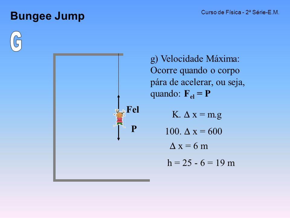 Bungee Jump Curso de Física - 2ª Série-E.M. G. g) Velocidade Máxima: Ocorre quando o corpo pára de acelerar, ou seja, quando: Fel = P.