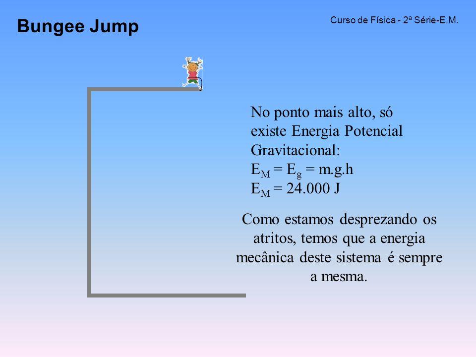 Bungee Jump Curso de Física - 2ª Série-E.M. No ponto mais alto, só existe Energia Potencial Gravitacional: EM = Eg = m.g.h EM = 24.000 J.