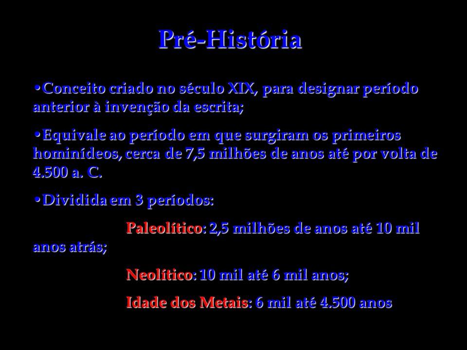 Pré-História Conceito criado no século XIX, para designar período anterior à invenção da escrita;