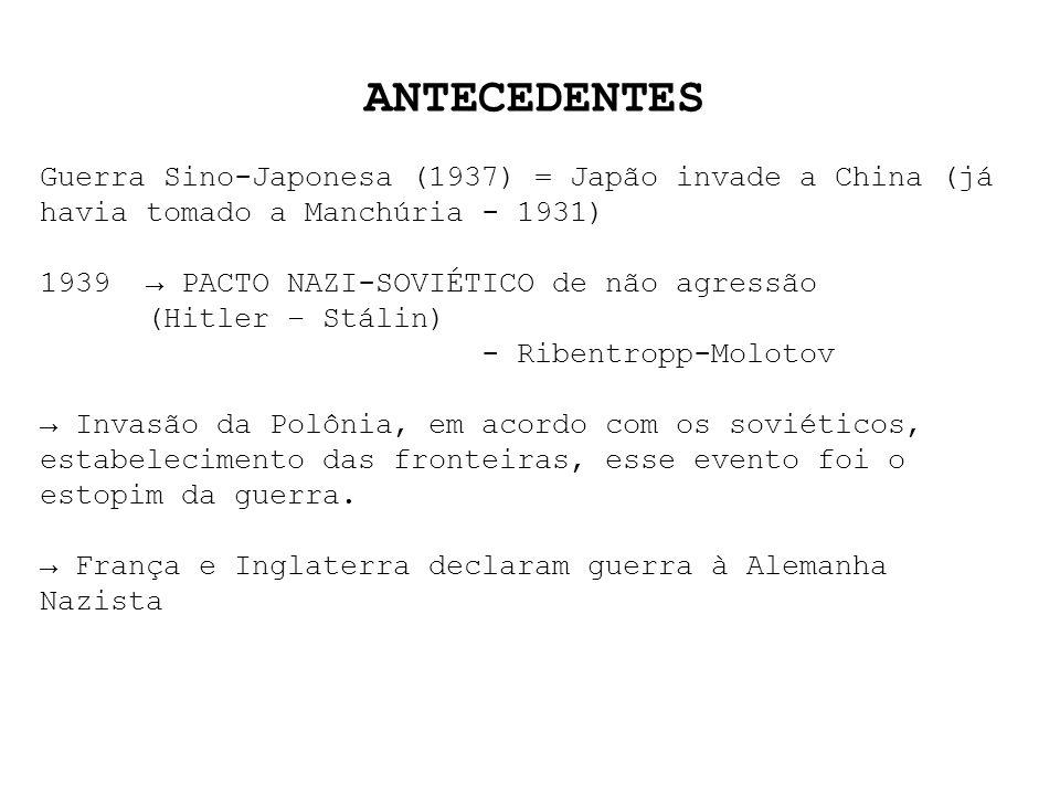 ANTECEDENTES Guerra Sino-Japonesa (1937) = Japão invade a China (já havia tomado a Manchúria - 1931)