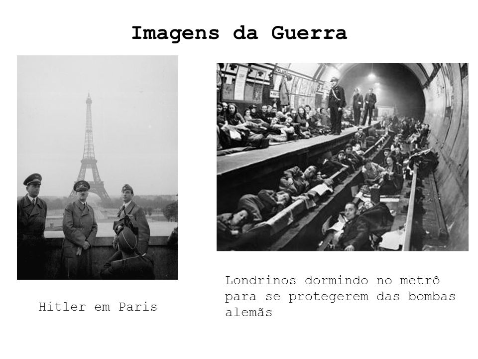 Imagens da Guerra Londrinos dormindo no metrô para se protegerem das bombas alemãs Hitler em Paris