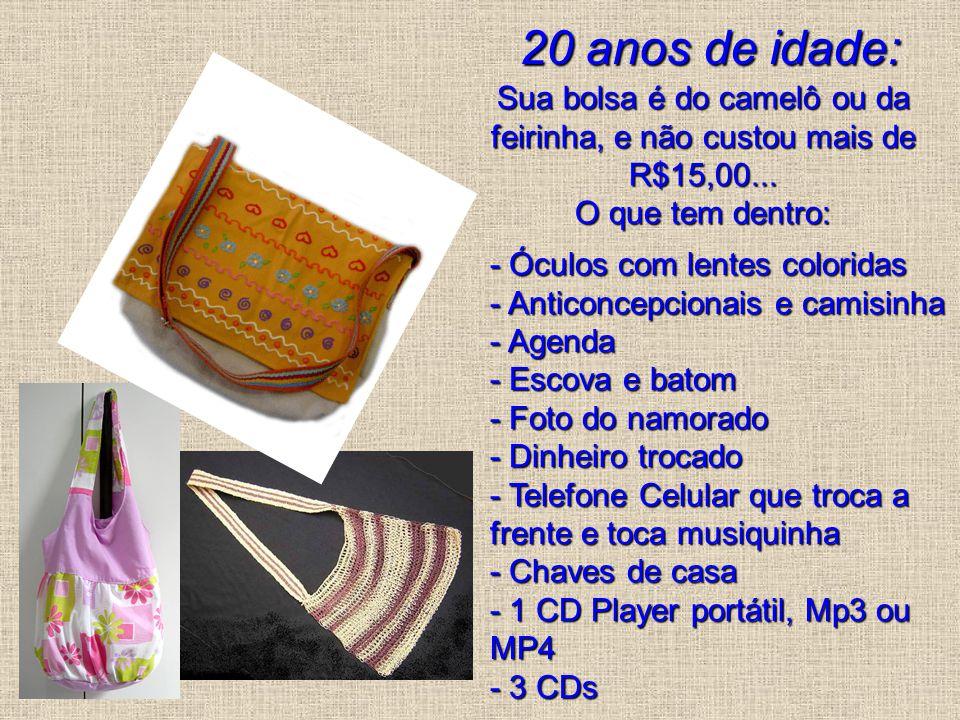 20 anos de idade: Sua bolsa é do camelô ou da feirinha, e não custou mais de R$15,00... O que tem dentro: