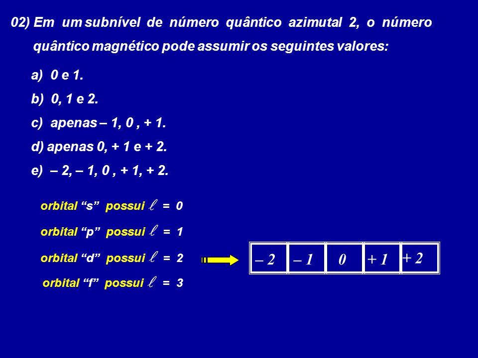02) Em um subnível de número quântico azimutal 2, o número