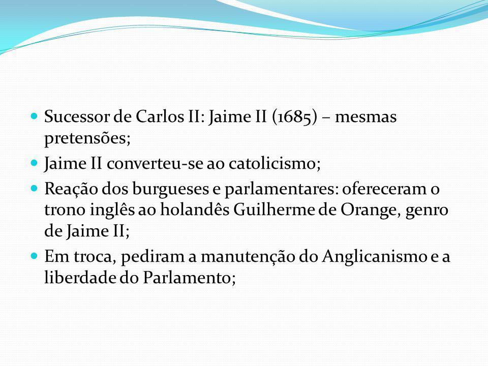 Sucessor de Carlos II: Jaime II (1685) – mesmas pretensões;