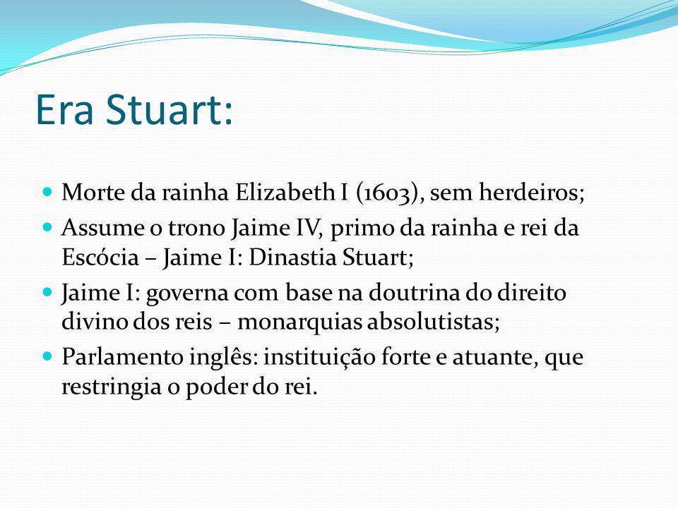 Era Stuart: Morte da rainha Elizabeth I (1603), sem herdeiros;