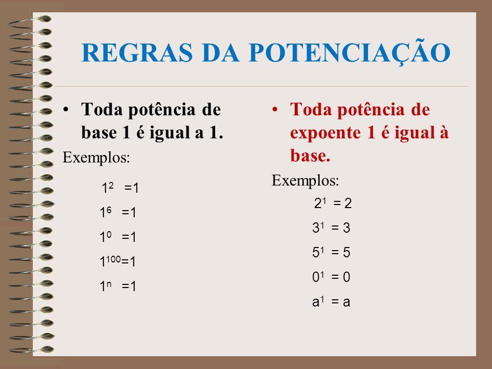 REGRAS DA POTENCIAÇÃO Toda potência de base 1 é igual a 1.