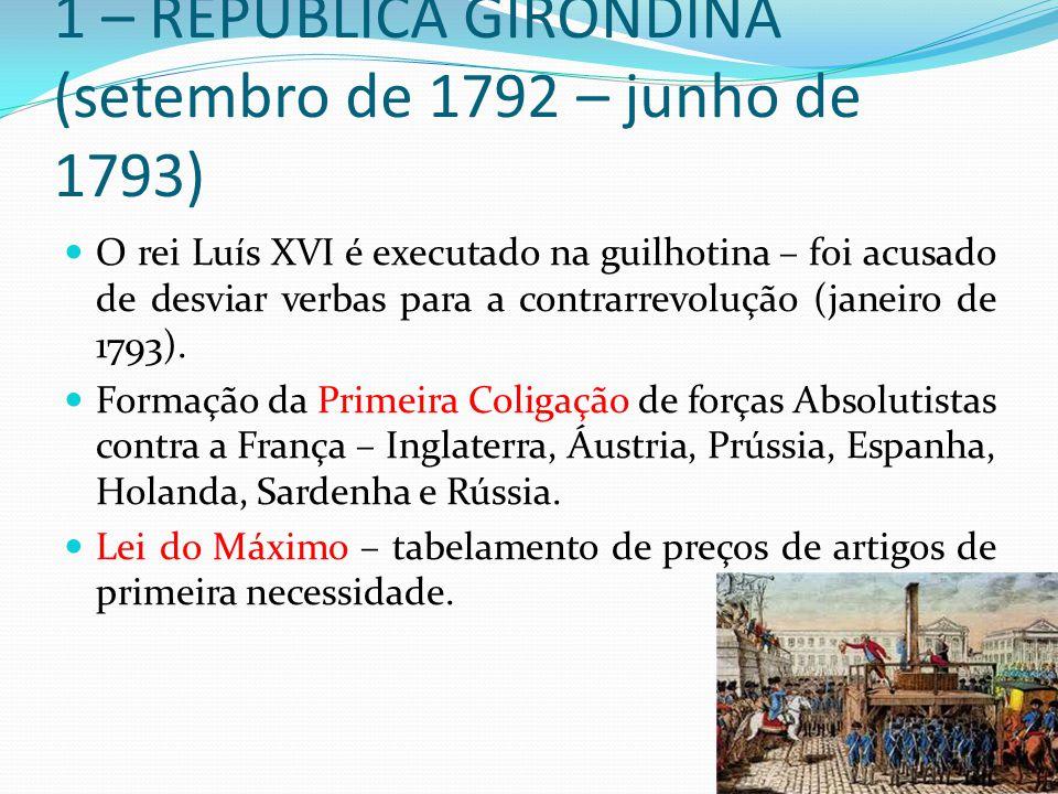 1 – REPÚBLICA GIRONDINA (setembro de 1792 – junho de 1793)