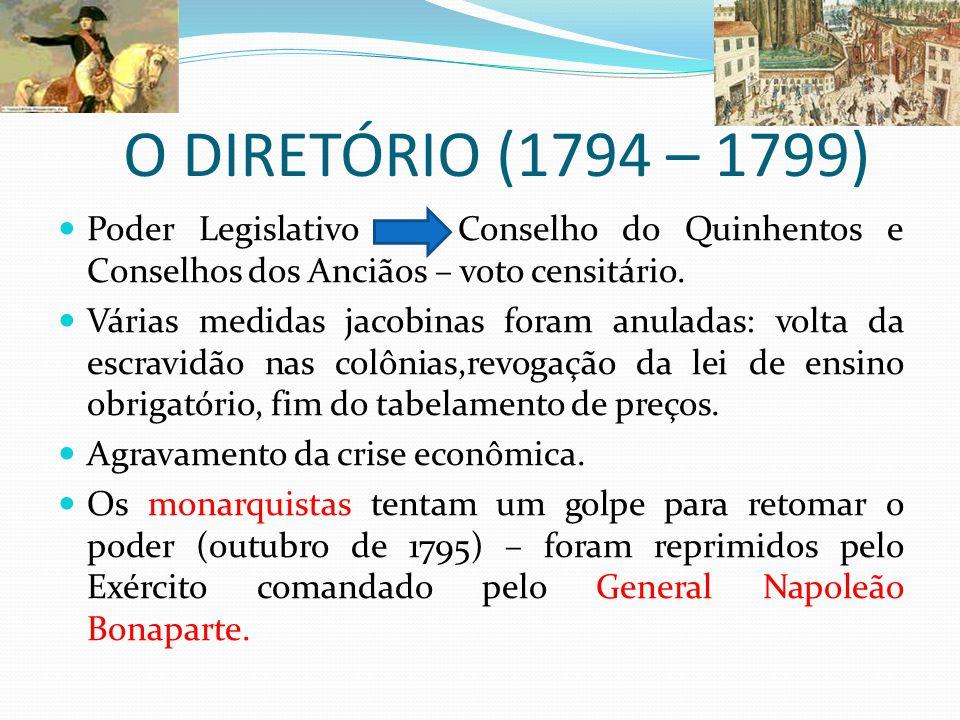 O DIRETÓRIO (1794 – 1799) Poder Legislativo Conselho do Quinhentos e Conselhos dos Anciãos – voto censitário.