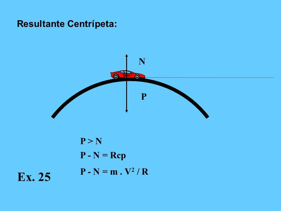Ex. 25 Resultante Centrípeta: N P P > N P - N = Rcp
