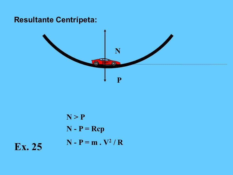 Ex. 25 Resultante Centrípeta: N P N > P N - P = Rcp