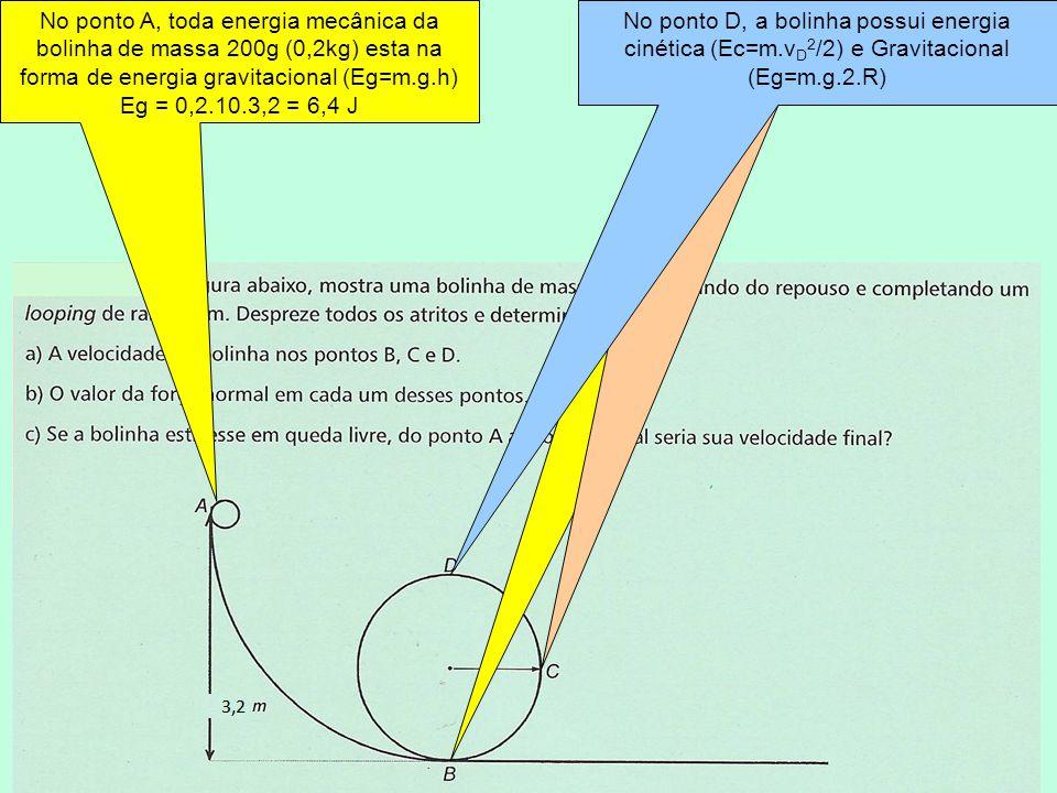 No ponto A, toda energia mecânica da bolinha de massa 200g (0,2kg) esta na forma de energia gravitacional (Eg=m.g.h)