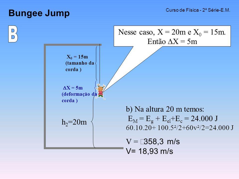 Nesse caso, X = 20m e X0 = 15m. Então X = 5m