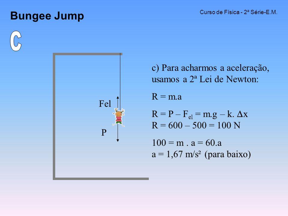Bungee Jump Curso de Física - 2ª Série-E.M. C. c) Para acharmos a aceleração, usamos a 2ª Lei de Newton: