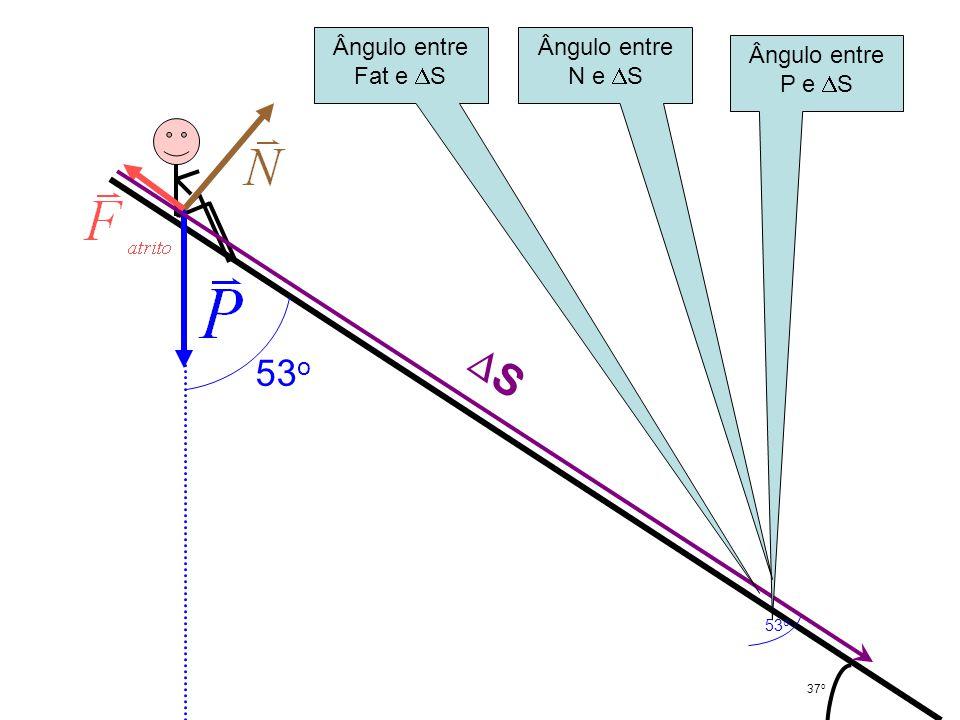 S 53o Ângulo entre Fat e S Ângulo entre N e S Ângulo entre P e S