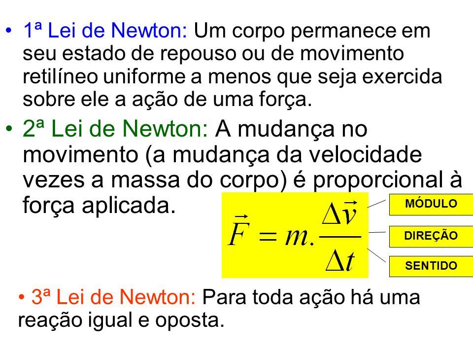 1ª Lei de Newton: Um corpo permanece em seu estado de repouso ou de movimento retilíneo uniforme a menos que seja exercida sobre ele a ação de uma força.