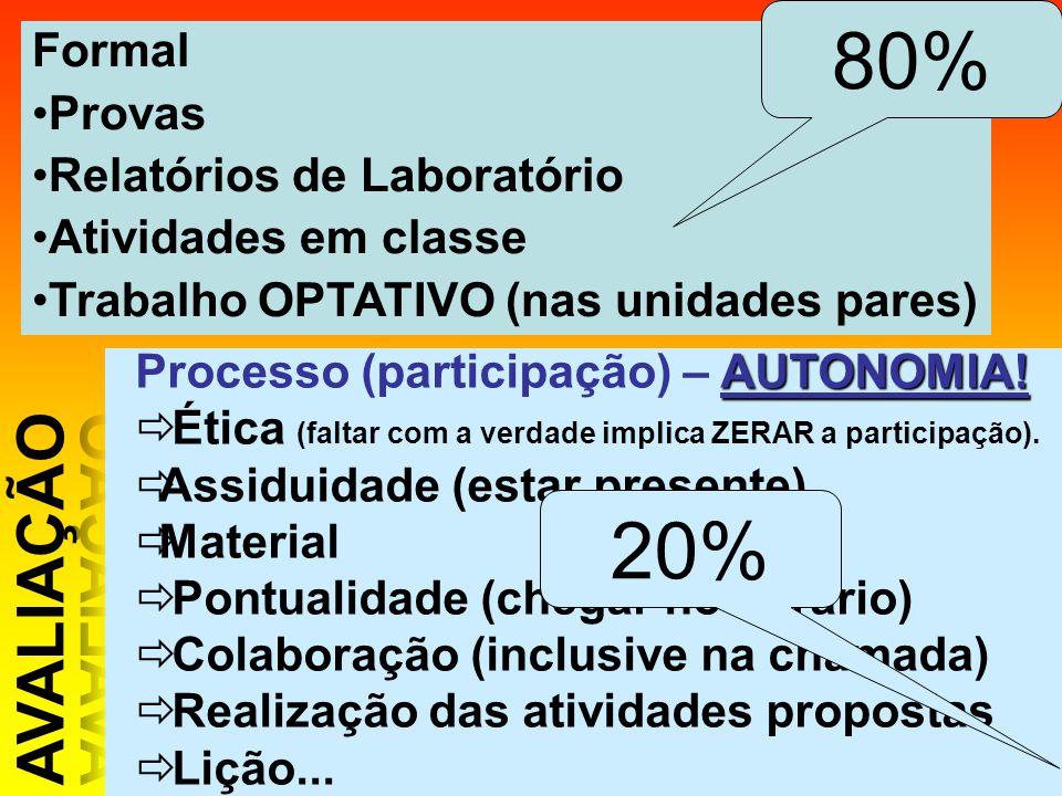 80% 20% AVALIAÇÃO Formal Provas Relatórios de Laboratório