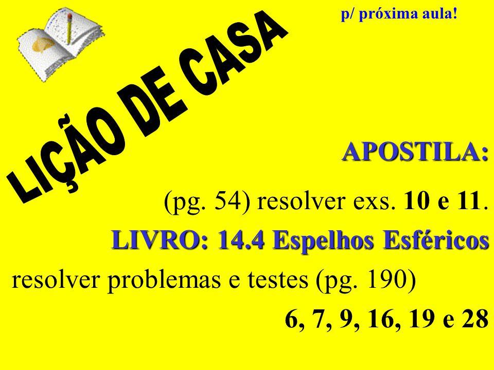 LIVRO: 14.4 Espelhos Esféricos resolver problemas e testes (pg. 190)
