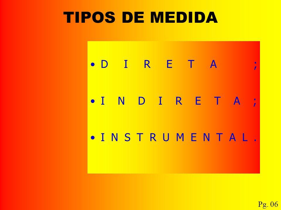 TIPOS DE MEDIDA DIRETA ; INDIRETA; INSTRUMENTAL. Pg. 06