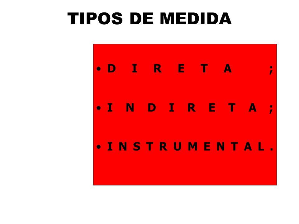 TIPOS DE MEDIDA DIRETA ; INDIRETA; INSTRUMENTAL.