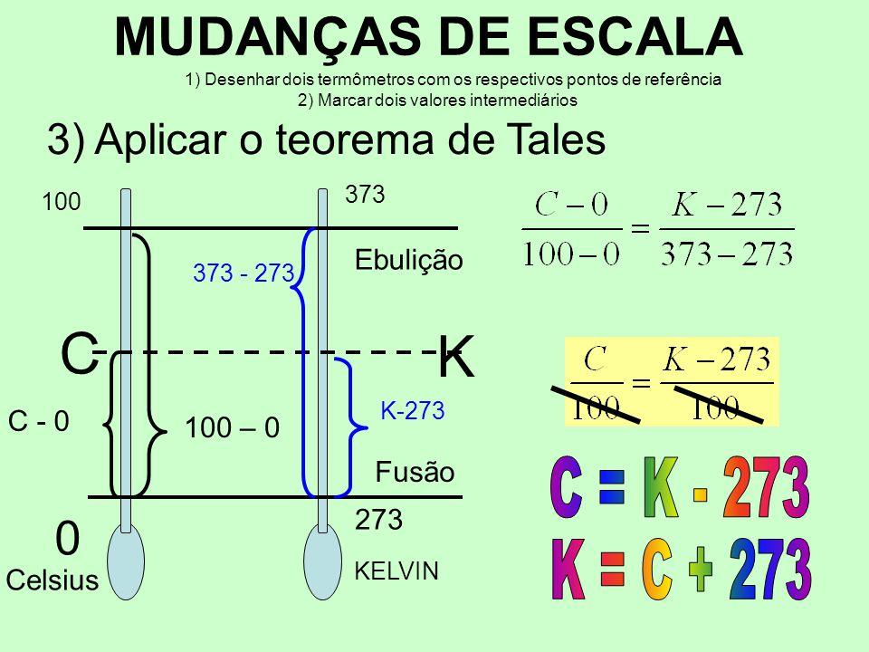 C K MUDANÇAS DE ESCALA 3) Aplicar o teorema de Tales C = K - 273